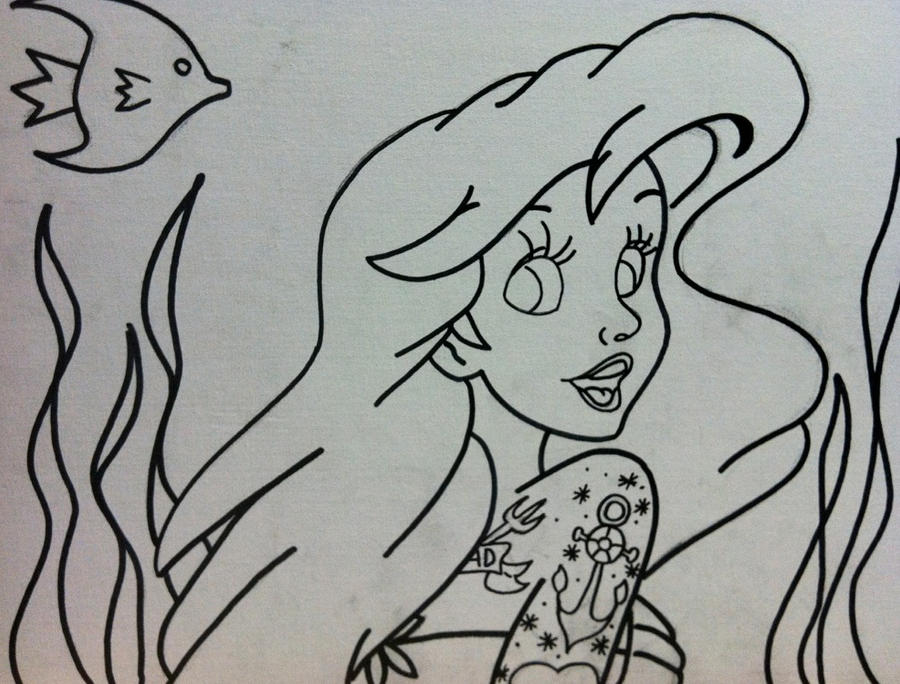 Little Mermaid Tattooed outline by sampson1721 on DeviantArt