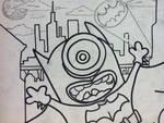 Despicable me minion batman painting outline by sampson1721