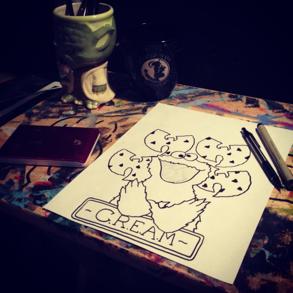 my cookie monster c r e a m tattoo design by sampson1721 on deviantart. Black Bedroom Furniture Sets. Home Design Ideas
