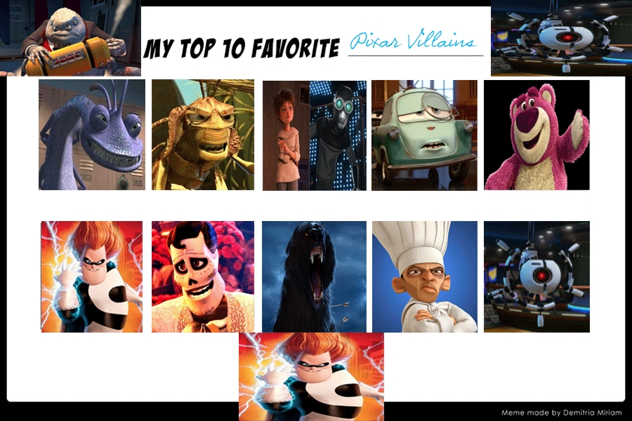 Top 10 Favorite Pixar Villains by JackSkellington416 on