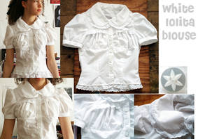 White Lolita Puff Blouse by RainbowBubble