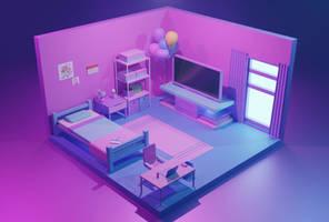 Isometric Room - Birthday Bedroom