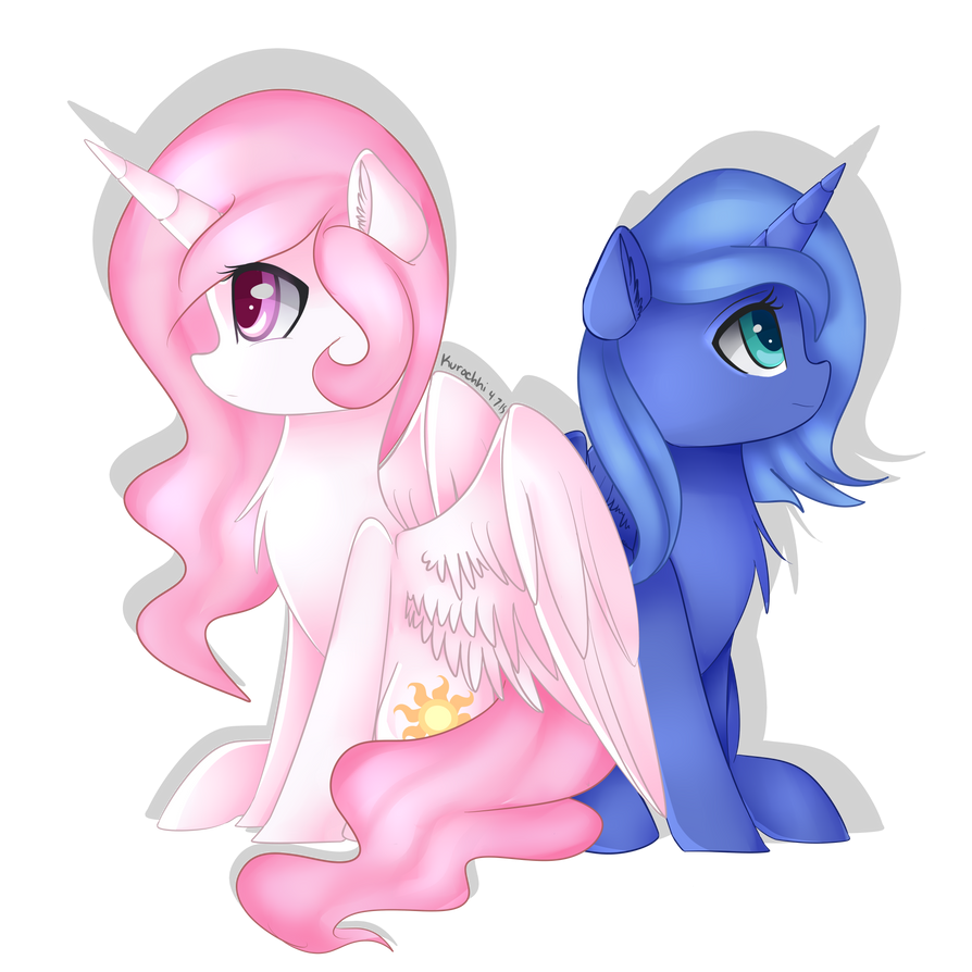 Princess Celestia and Luna by Kurochhi