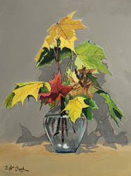Autumn bouquet in a glass vase.