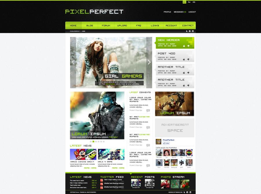 Gaming Website Design - PixelPerfect by ShindaTravis on DeviantArt