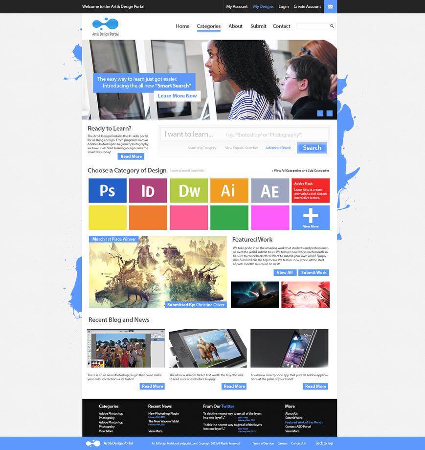 Art and design skills portal website mockup by for Portale design
