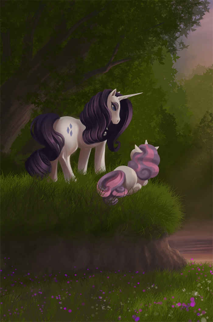 Rarity and Sweetie Belle by Precia-T