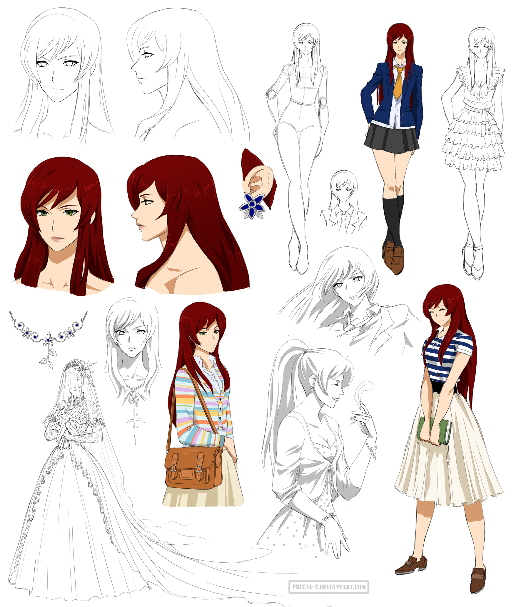 Anime Female Character Design : Gentle girl design kaho commision by precia t on deviantart