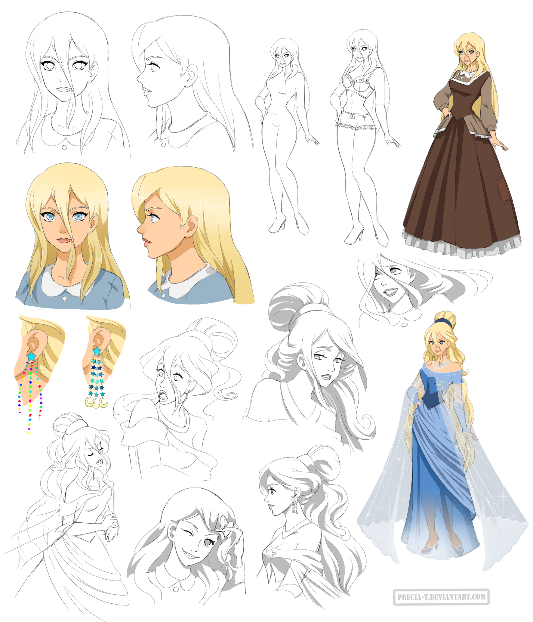 Disney Character Design Study : Disney princess design starina commission by precia t
