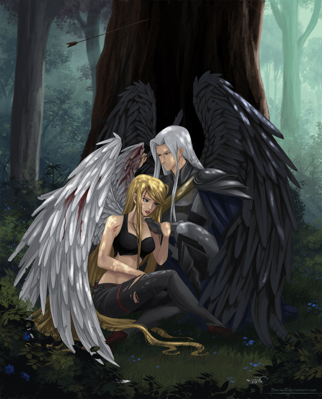 Fallen angel (commision) by Precia-T