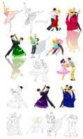 Dancing poses in Disney-like style