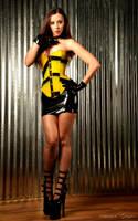 Kerri Taylor  Yellow latex corset by modelkerritaylor