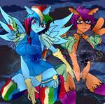 Super sailor bunny Rainbow Dash and Scootaloo by Foxgearstudios