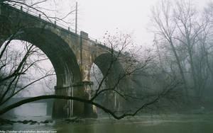 Railroad trestle in the mist by NickACJones