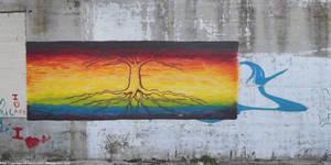 Rainbow flag with tree by NickACJones