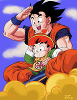 Goku and Gohan high in the sky by jamesy1991
