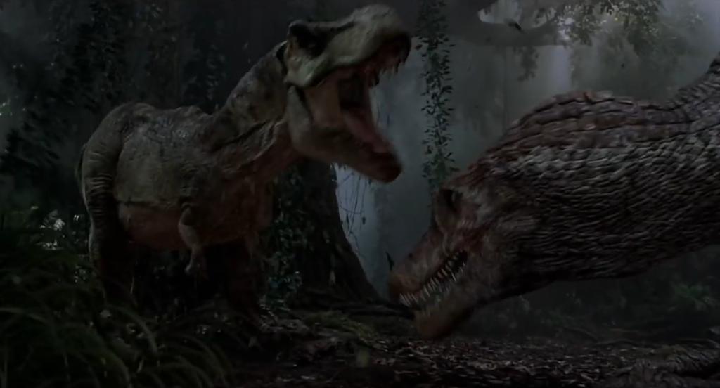 Image result for spinosaurus vs t rex jurassic park