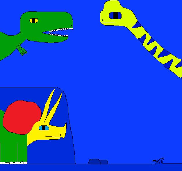Tyrannosaurus rex and Abrosaurus by Gojirafan1994