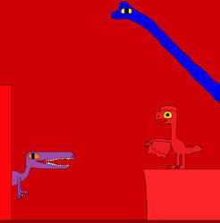 Baryonyx and Oviraptor 2 by Gojirafan1994