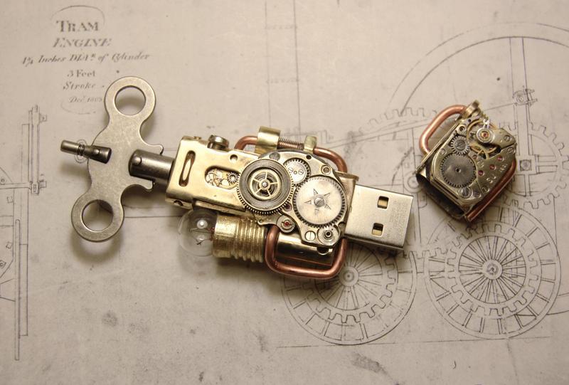 Steampunk USB flash drive by cybercrafts