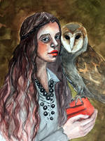 Girl with Owl by VictoriaInArts