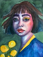 Girl with yellow roses by VictoriaInArts