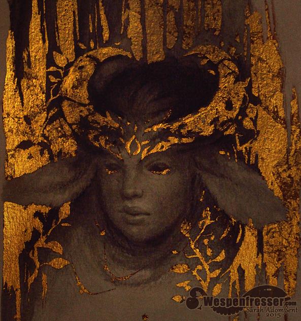 Metal leaf Test - horned girl by Wespenfresser