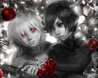 FANART Christmas| Hellsing (Seras) + Saya (Blood+) by Wespenfresser