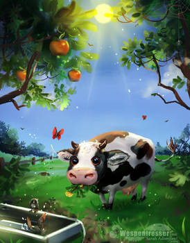Happy lonely Cow