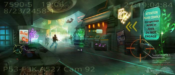 Cyberpunk lower level Mall (kinda failed)