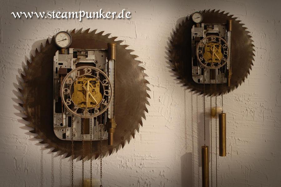 steampunk wall clock wanduhr by steamworker