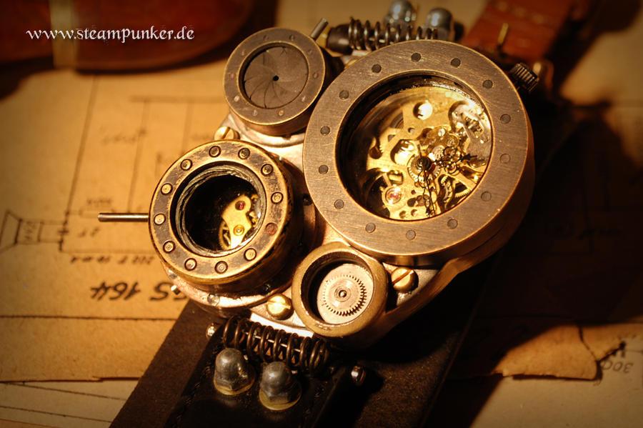 Steampunk large wrist watch by steamworker