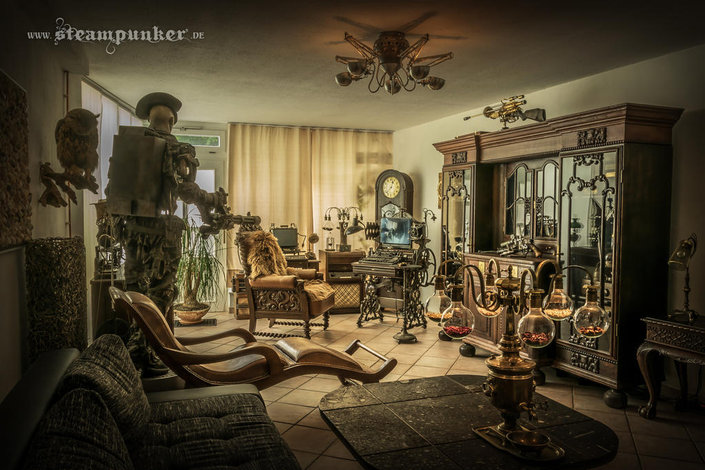 steampunk living room by steamworker on deviantart