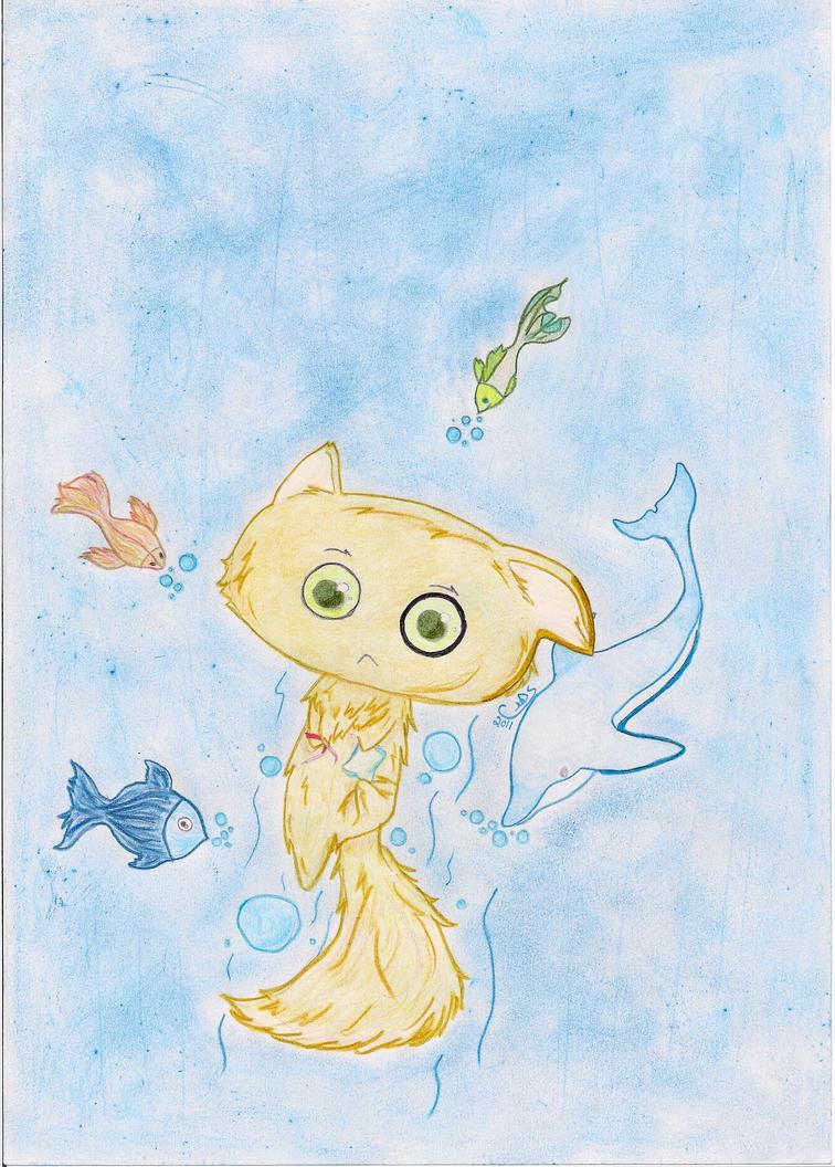 Swimming Cat by SchoolLeo