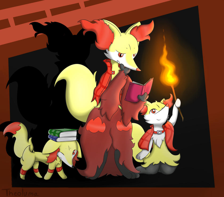 fennekin delphox and braixen by theoluma on deviantart