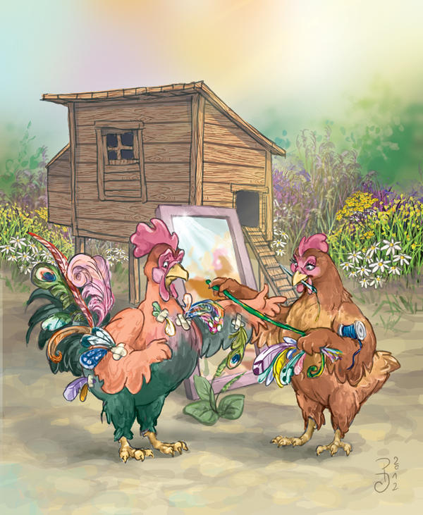 Rooster's new feathers by Victoria-Poloniae