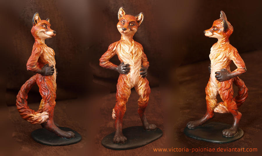 Anthro fox sculpture (painted) by Victoria-Poloniae