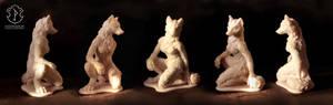 Anthro female wolf sculpture