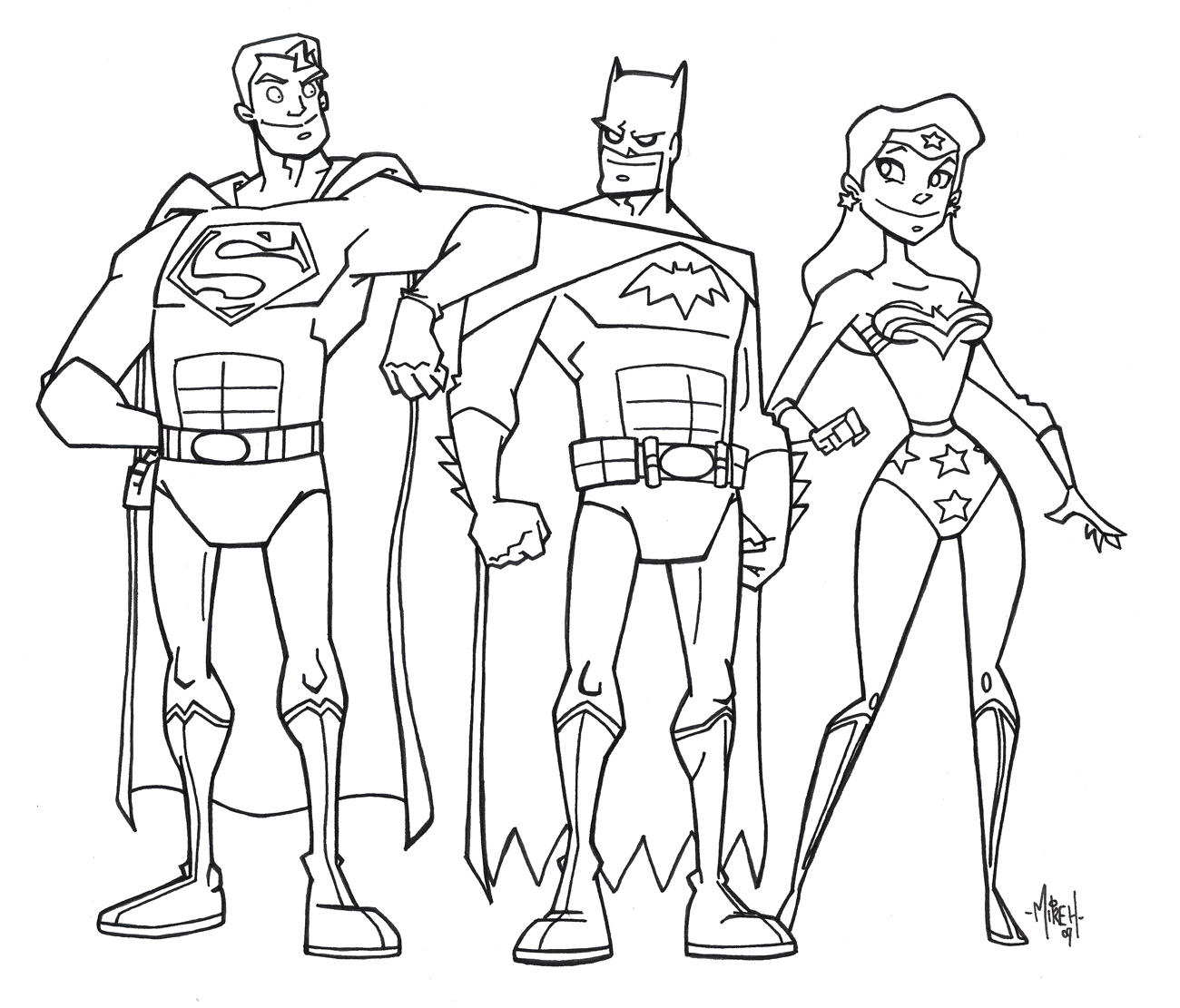 Justice league trinity inks by tyrannus on deviantart for Flash da colorare