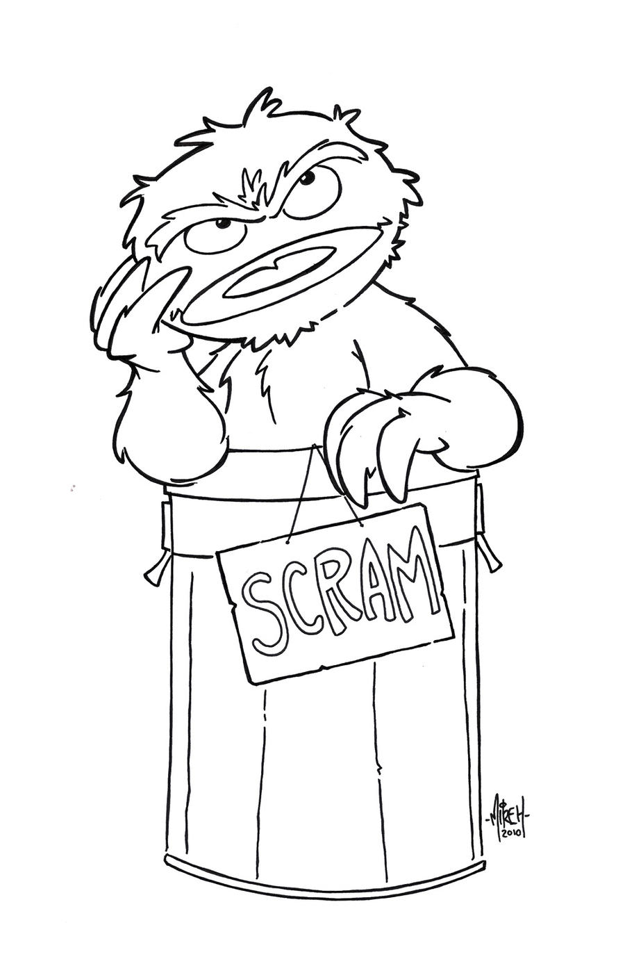 O Is For Oscar Inks By Tyrannus On Deviantart Oscar The Grouch Coloring Page