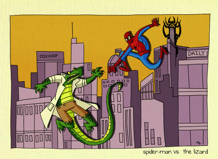 Spider vs  Lizard by tyrannus