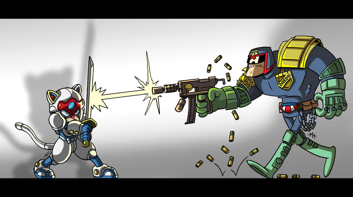 Pizza Cat vs Dredd by tyrannus