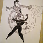 Commission - Night Girl and Cosmic Boy