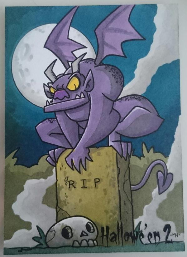 gargoyle sketch card by tyrannus