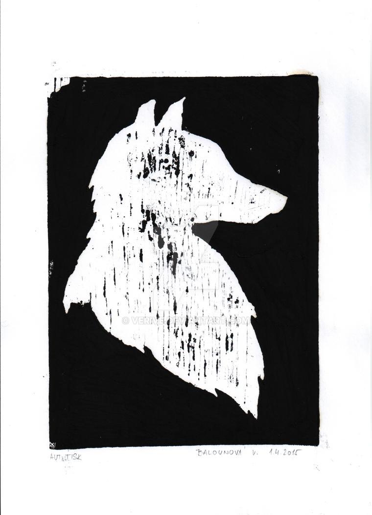wolf - wood engraving by verive