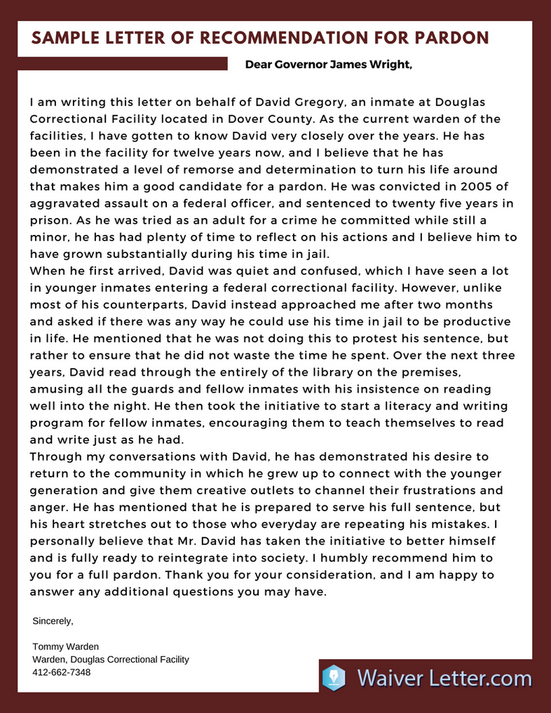 Pardon Letter of Recommendation Example by WaiverLetterSample on ...