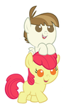 Featherweight and Applebloom as babies
