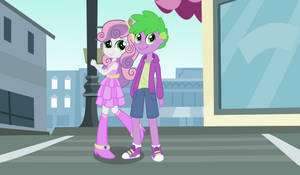 Sweetie Belle and Human Spike (Request) by 3D4D