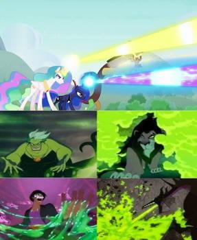 Celestia, Luna, and Discord Attack Disney Villains