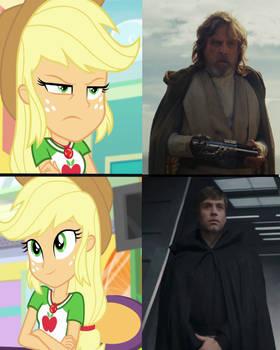 Applejack Drake Meme with Luke Skywalker